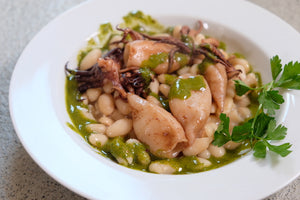 Calamari with beans and pesto