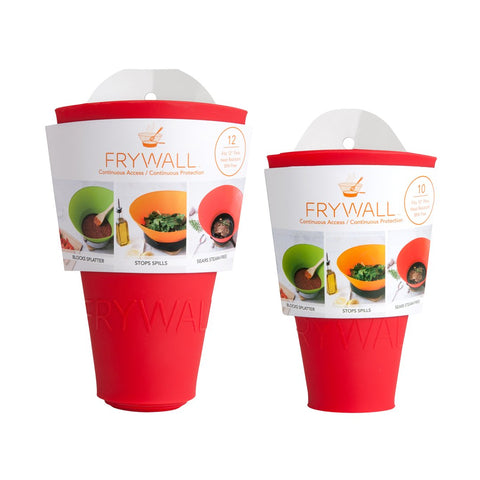 Frywall rolls up for easy storage