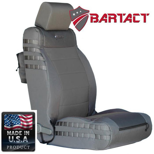 Jeep JK Seat Covers Front 07-10 Wrangler JK/JKU Tactical Series Not Air Bag Compliant Graphite/Graphite Bartact