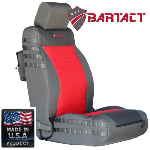 Jeep JK Seat Covers Front 07-10 Wrangler JK/JKU Tactical Series Not Air Bag Compliant Graphite/Red Bartact
