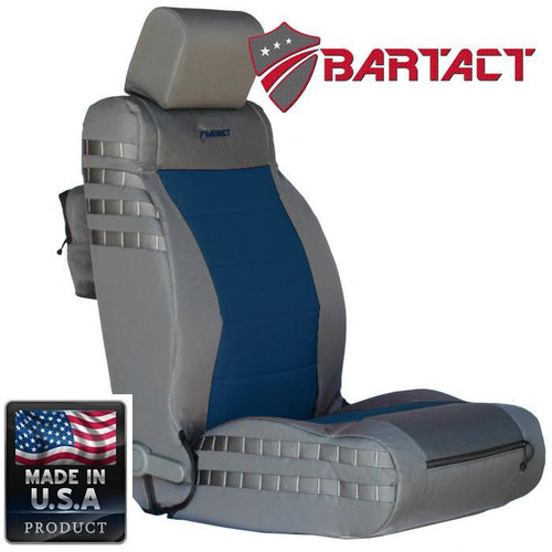 Jeep JK Seat Covers Front 07-10 Wrangler JK/JKU Tactical Series Not Air Bag Compliant Graphite/Navy Bartact