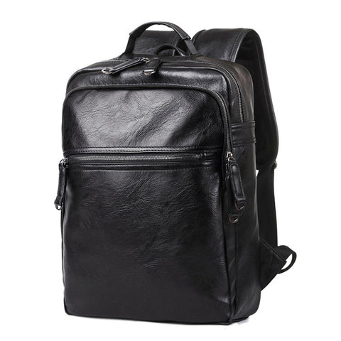 High Quality Leather School Backpack for Male