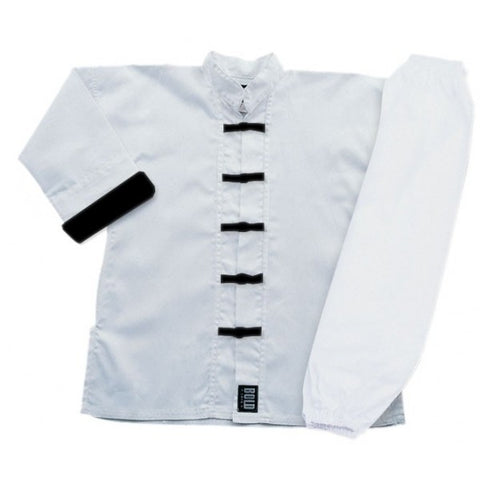 White with Black Buttons Kung Fu Uniform