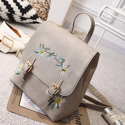 Floral Pu Leather Backpack Embroidery School Bag