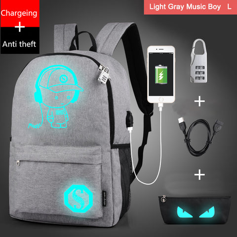 Teenagers School Bags with free USB+Pen Bag+Antitheft Lock Backpack