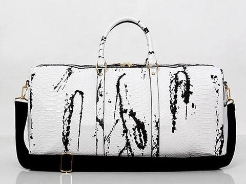 Leather Crocodile Pattern Duffle Bag