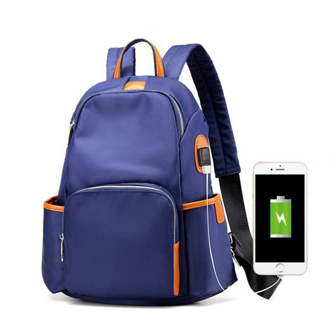 Women's External USB Charge Antitheft Backpack Waterproof