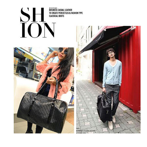 Knitting Pattern Black Leather Large Duffle Bag