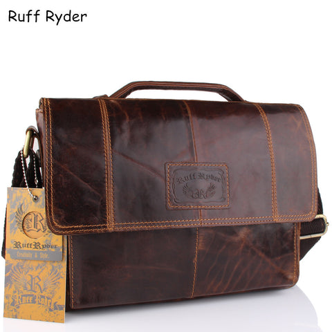 Ruff Ryder New Vintage Men Genuine Oil Wax Leather Business Briefcases