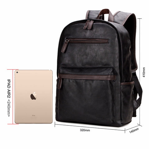 Leather Laptop Casual Backpack