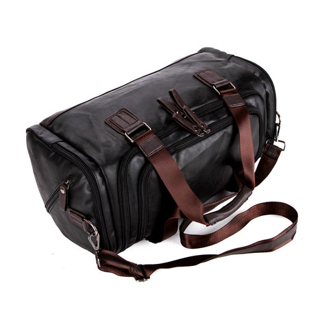 PU Leather Simple Contrast Black Travel Bag