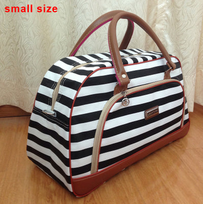 Leather Waterproof Stripe Print Duffle Bag