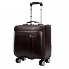 Snakeskin PU Trolley Luggage Suitcase Travel Bag