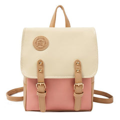 Contrast Color Leather Backpack