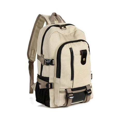 Vintage Canvas Leather School Backpack