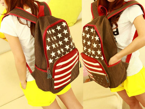 Woman Leather Flag Rivet School Backpack