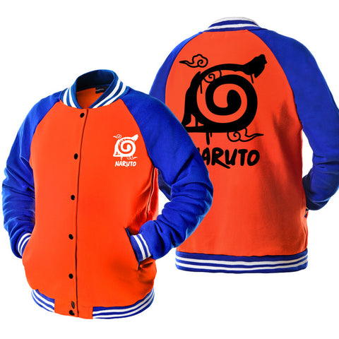2017 autumn women casual clothing funny konoha Uzumaki Naruto print tracksuits men blue orange patchwork unisex baseball jackets