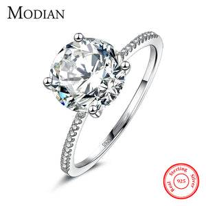 2018 Classic Luxury Real Solid Sterling Silver Ring 3Ct 10 Hearts Arrows Zircon Engagement Ring