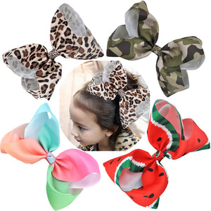8 Inch Large Hair Bows Leopard Print, Rainbow, Grosgrain Ribbon Hairpins, Girls Hair Accessories, with Alligator Clips