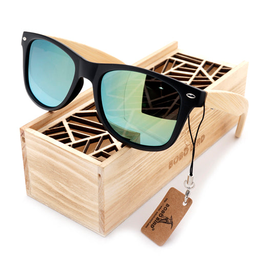 BOBO BIRD - Bamboo Unisex Summer Style Vintage Black Square Sunglasses, Mirrored, UV Protection & Polarized comes in Wooden Box,