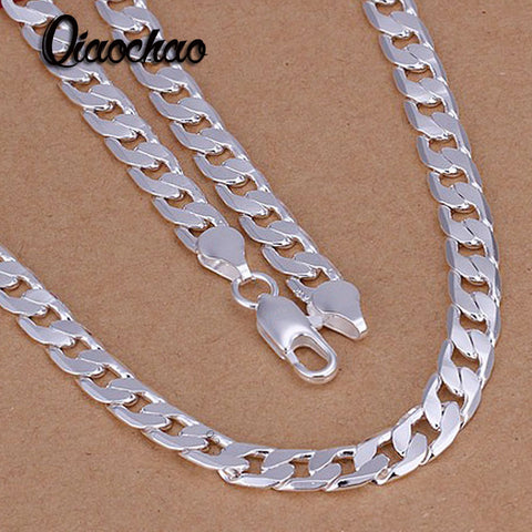 Fashion jewelry sterling silver jewelry 6mm flat side link chains necklaces fashion fine, men's necklace.