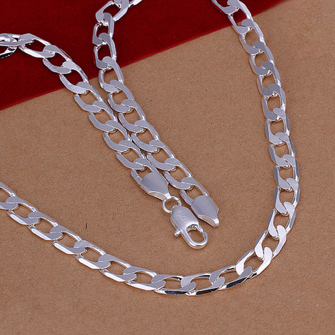 "Free Shipping 925 Sterling Silver Necklace 8mm Flat Sideways Link chains 16-24""  long necklace"