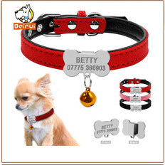 Reflective Engraved Personalized Leather Dog/Cat Collars.  Pets ID, Collar Free Engraving For Small & Medium Dogs & Cats.