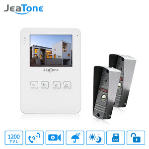 JeaTone 4 Inch Video Doorbell, Door Intercom System Monitor, Unlocking / Lock electronicly, Video Recording, Photo Taking, 1200TVL.  Make Your Home Safe For All Your Family.