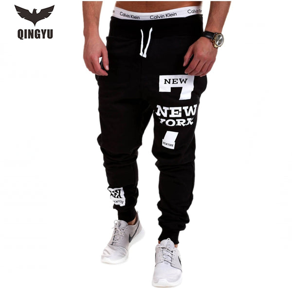 2018 Male Jogger Pants, Casual Solid Alphanumeric printing Sweatpants Size Medium Through Size XXXL