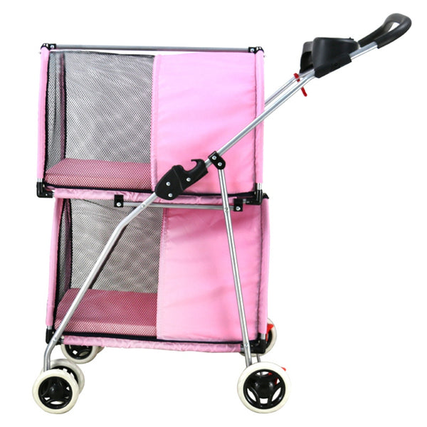 This double dog Stroller is a great Idea for more than one pet.  I have 3 little dogs, one loves to be alone so he get the top, while the other two love to cuddle on the bottom. great quality a must have