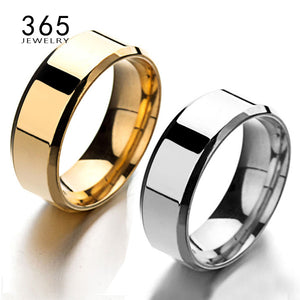 8mm NEVER FADE Silver Rose Gold Band Ring, Smooth Stainless Steel, Then The Tuff Man's Black Gift Ring.