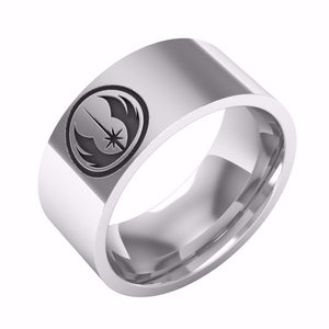 Star Wars Classic Jedi Symbol Engraved Ring, Polished Stainless Steel, High Quality Jewelry, Never Turn,  Best Gift For Star Wars Loving Man/Woman