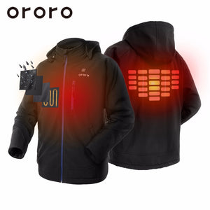 US SELLER! 2017 ORORO Fashion Mens Black Hooded Heated Fleece Jackets Winterwarm Biker Outerwear Snow/Windbreaker Coats Hoodie