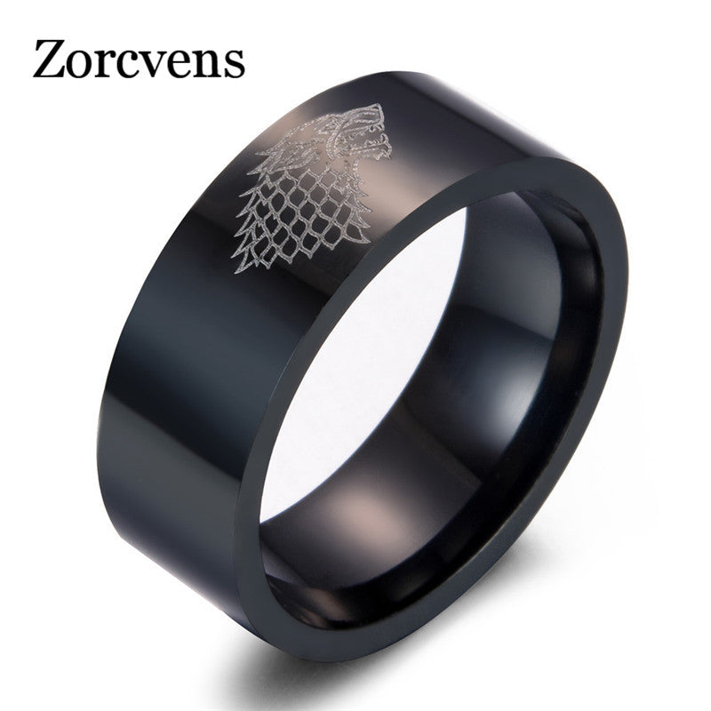 ZORCVENS - 2017 Brand New Stainless Steel Game of Thrones, Ice wolf Ring!