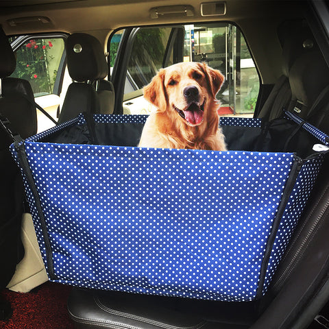 Washable Double Layer Waterproof Dog, Cat Safety Travel Hammock, Plus - It Save Car Interior, Blue, Gray & brown