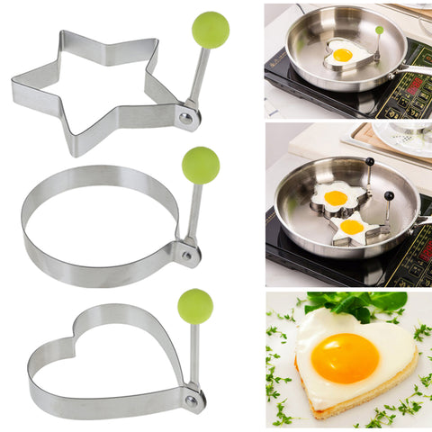 1 Piece Stainless Steel Scrambled egg, Fried Egg Mold, Heart, Round or Star Mold Kitchen Cooking Tool