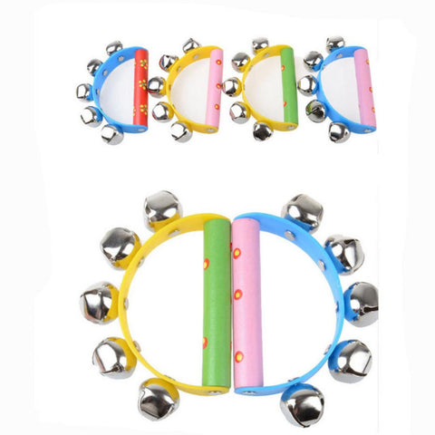 Baby Rainbow Musical Instrument, Toy Wooden Jingle Bells, Handbells Shaker for Kids Muxical