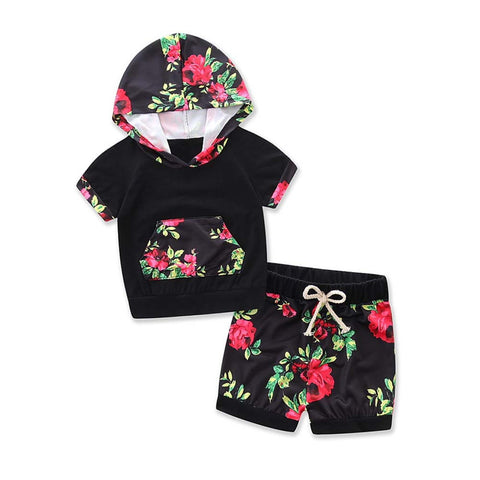 2017 Girls short outfit, Floral Print Set, Short-sleeve T-shirt Hoodie.