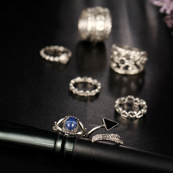 7pcs/Set Women Bohemian Vintage Silver Different Finger And Knuckles Ring Set. Made For Different Parts Of The Finger.