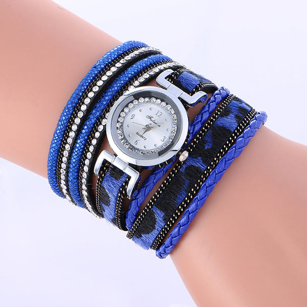 Womans Wrap Around Fashion Weaved Leather Bracelet/Wrist Watch