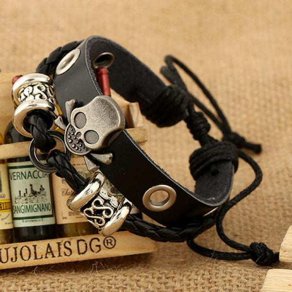 Stainless Steal Leather Bracelets, Style Biker Accessories Skull Bracelets