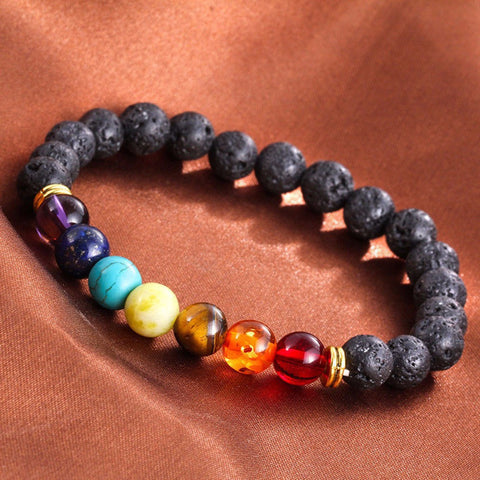 7 Chakra Healing Beaded Bracelet Natural Lava Stone Diffuser Bracelet Jewelry For Men Or Women