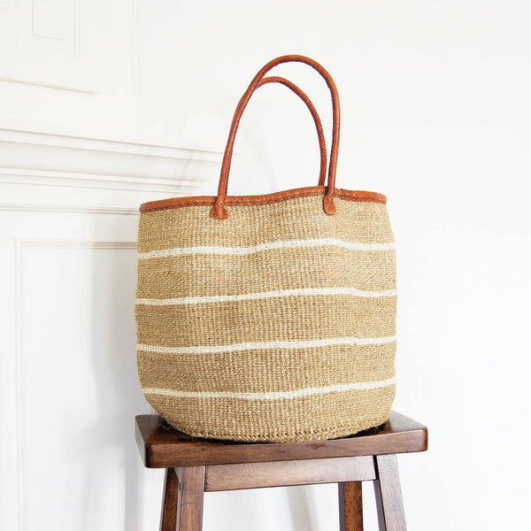 Certified Fair Trade Sisal and Leather Market Bag Made in Kenya