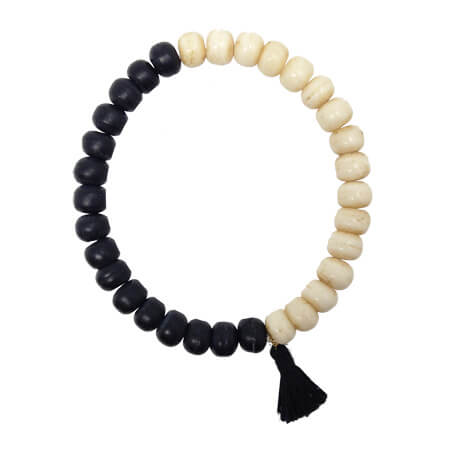 Unisex Black and White Carved Bone Tassel Bracelet
