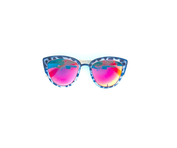 Mirrored Lens Recycled Plastic Blue Planet Sunglasses