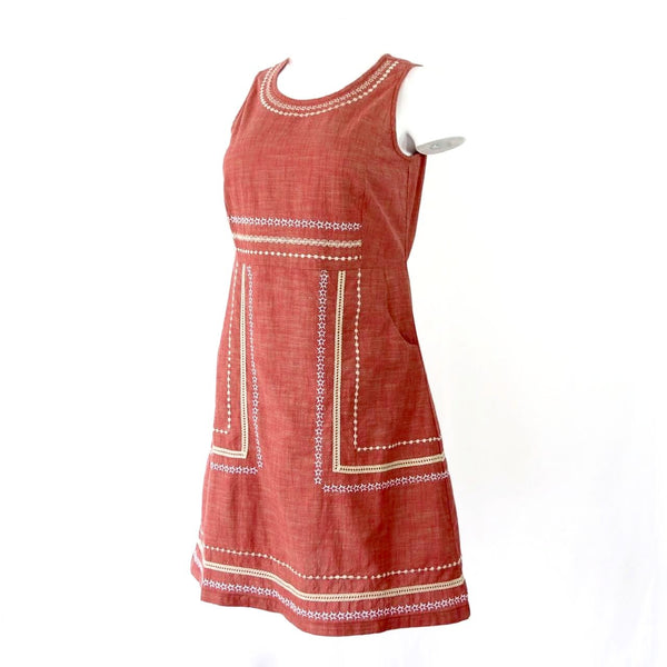 Organic Cotton Embroidered and Crochet Trimmed Dress
