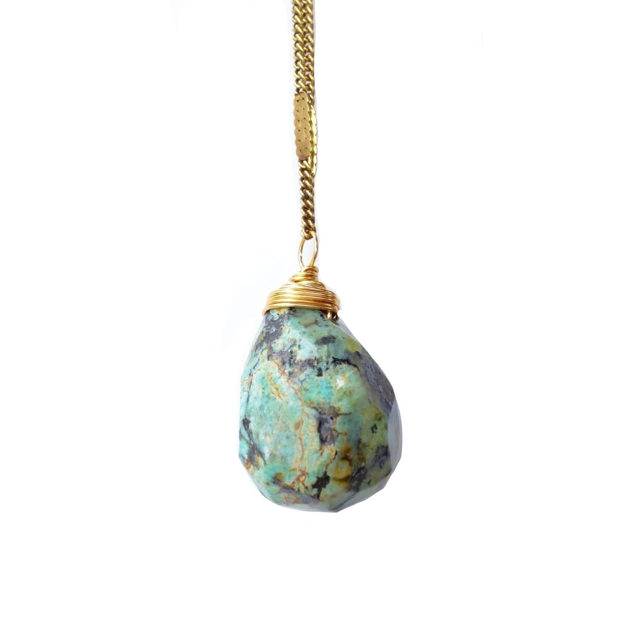 African Turquoise Stone Drop Necklace
