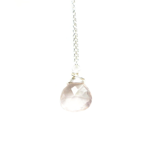 Rose Quartz Simple Stone Necklace
