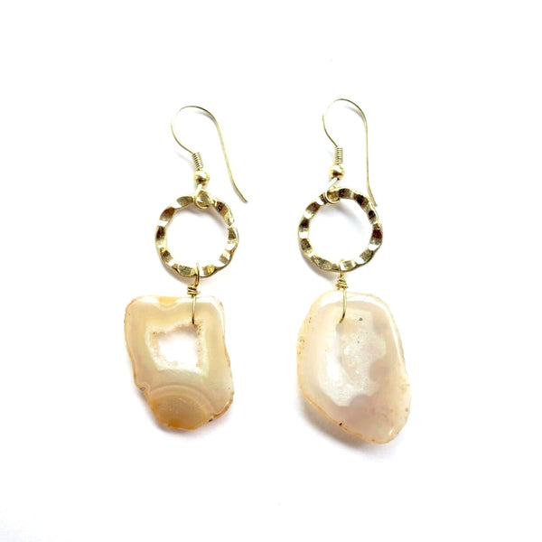 Natural Geode Stone Earrings