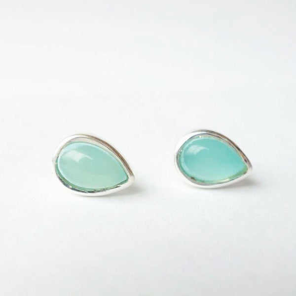 Chalcedony Teardrop with Sterling Silver Post Earrings